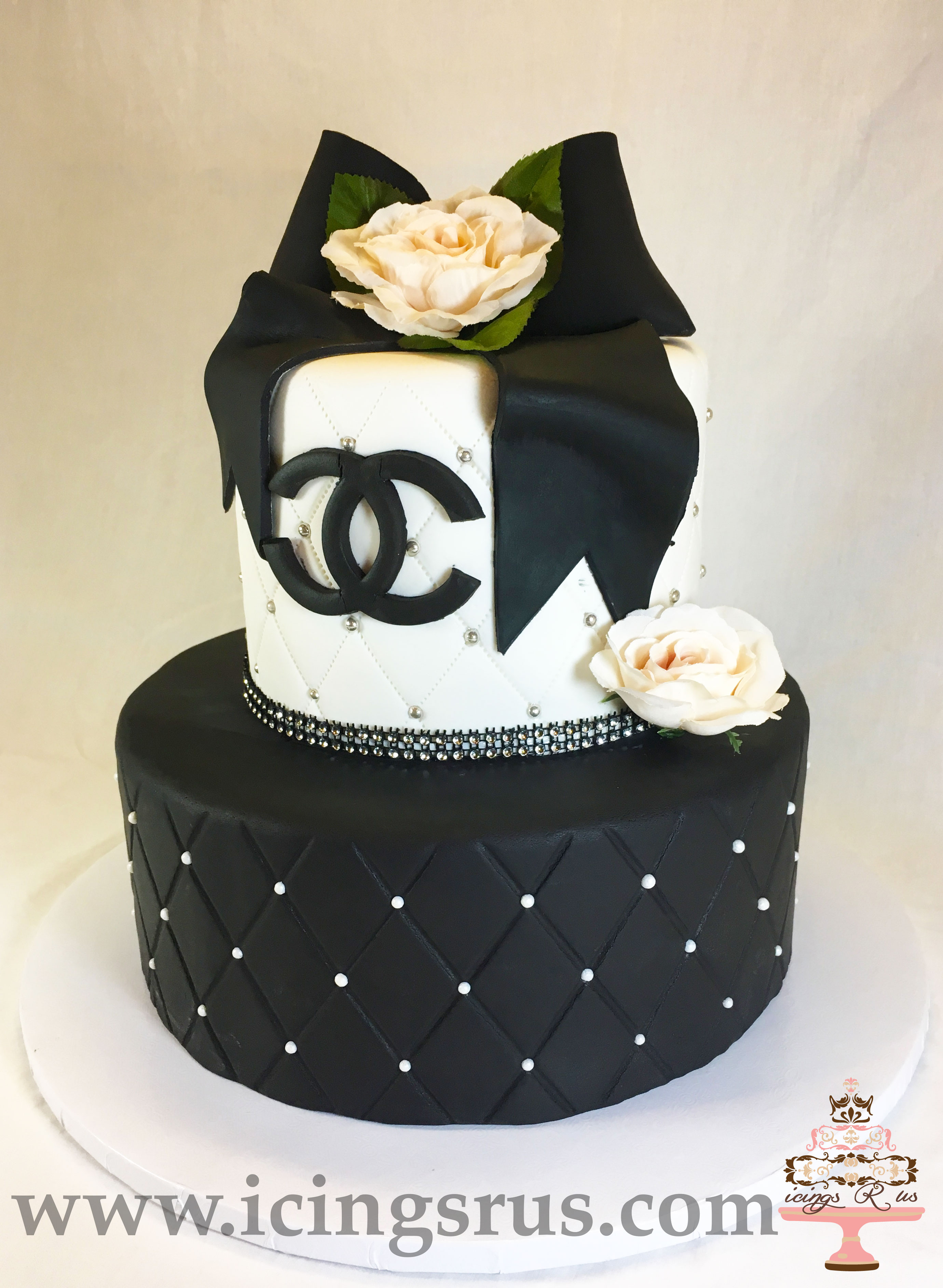 2 Teir Channel With Rose Cake Icings R Us