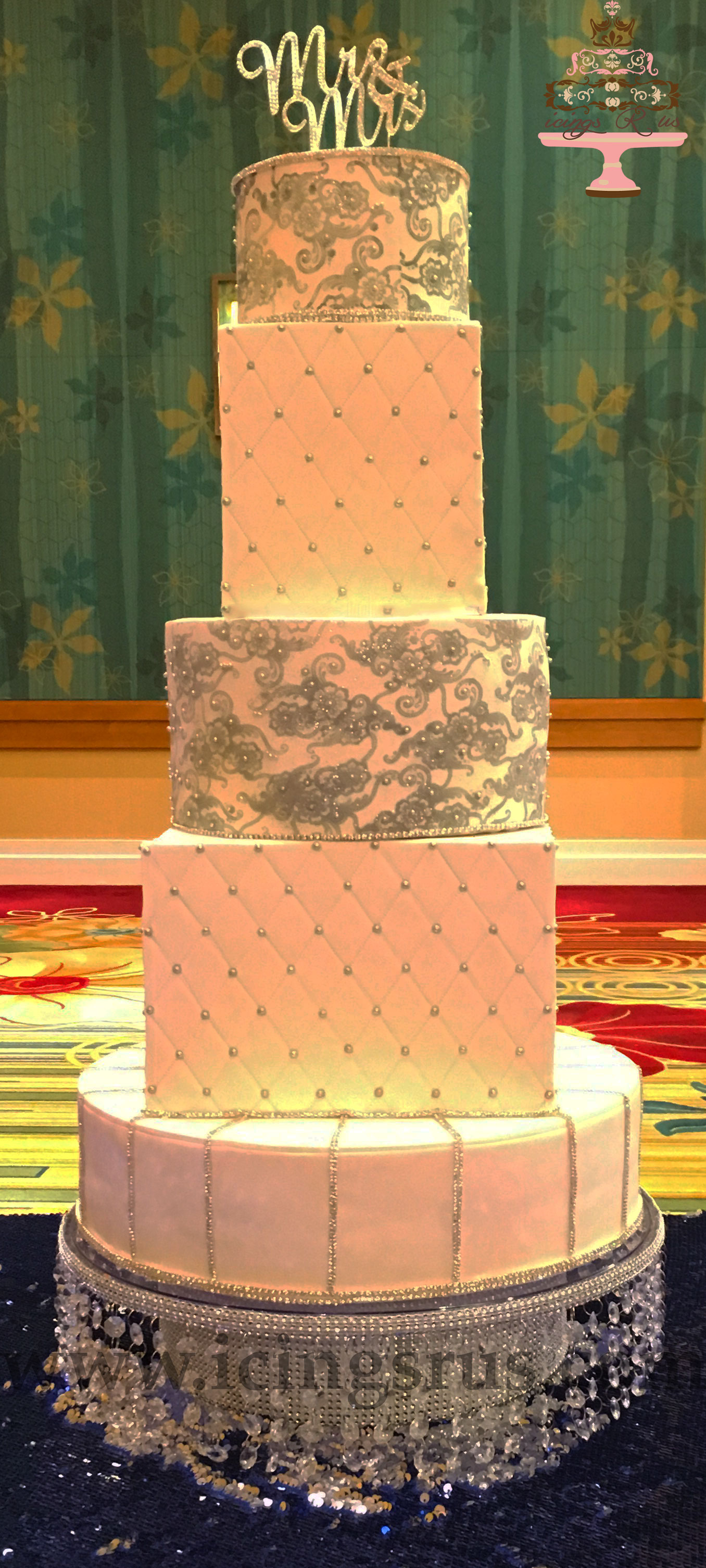 Sparkle and Pearl 5 Tier Wedding Cake