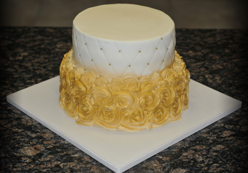 Gold Buttercream Wedding Cake