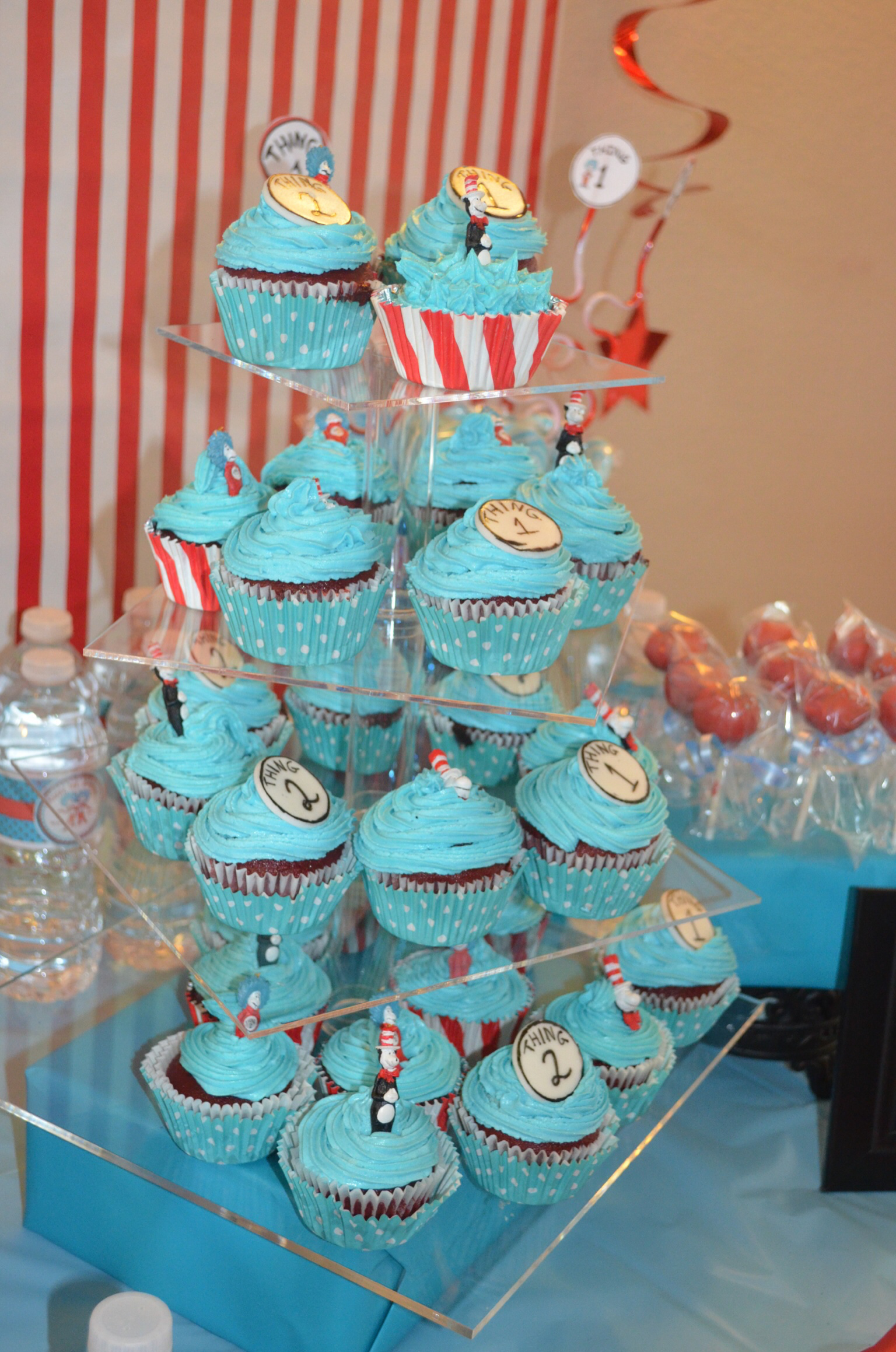 Dr. Seuss Thing 1 Thing 2 Cupcakes