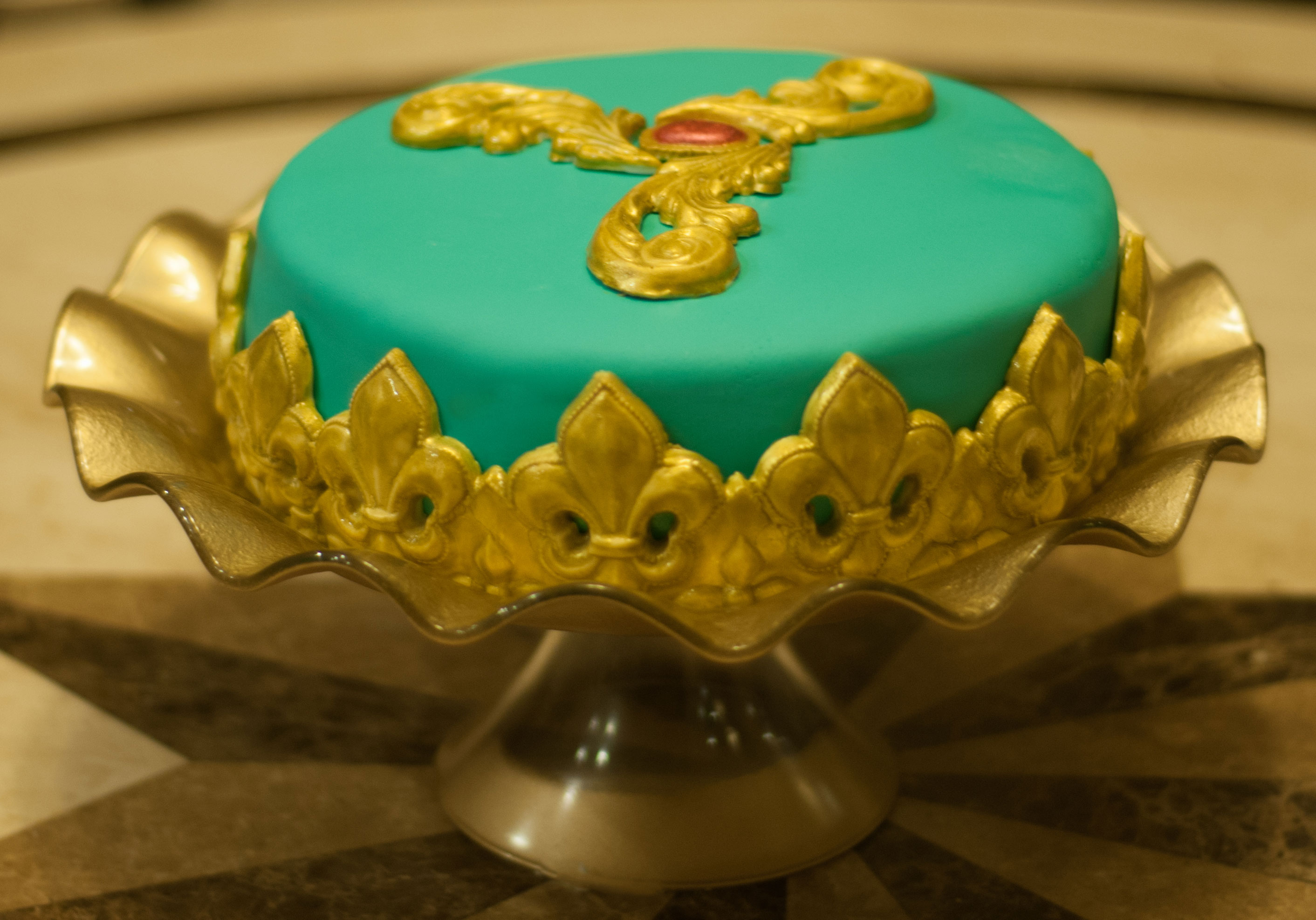 Teal Embroided Cake