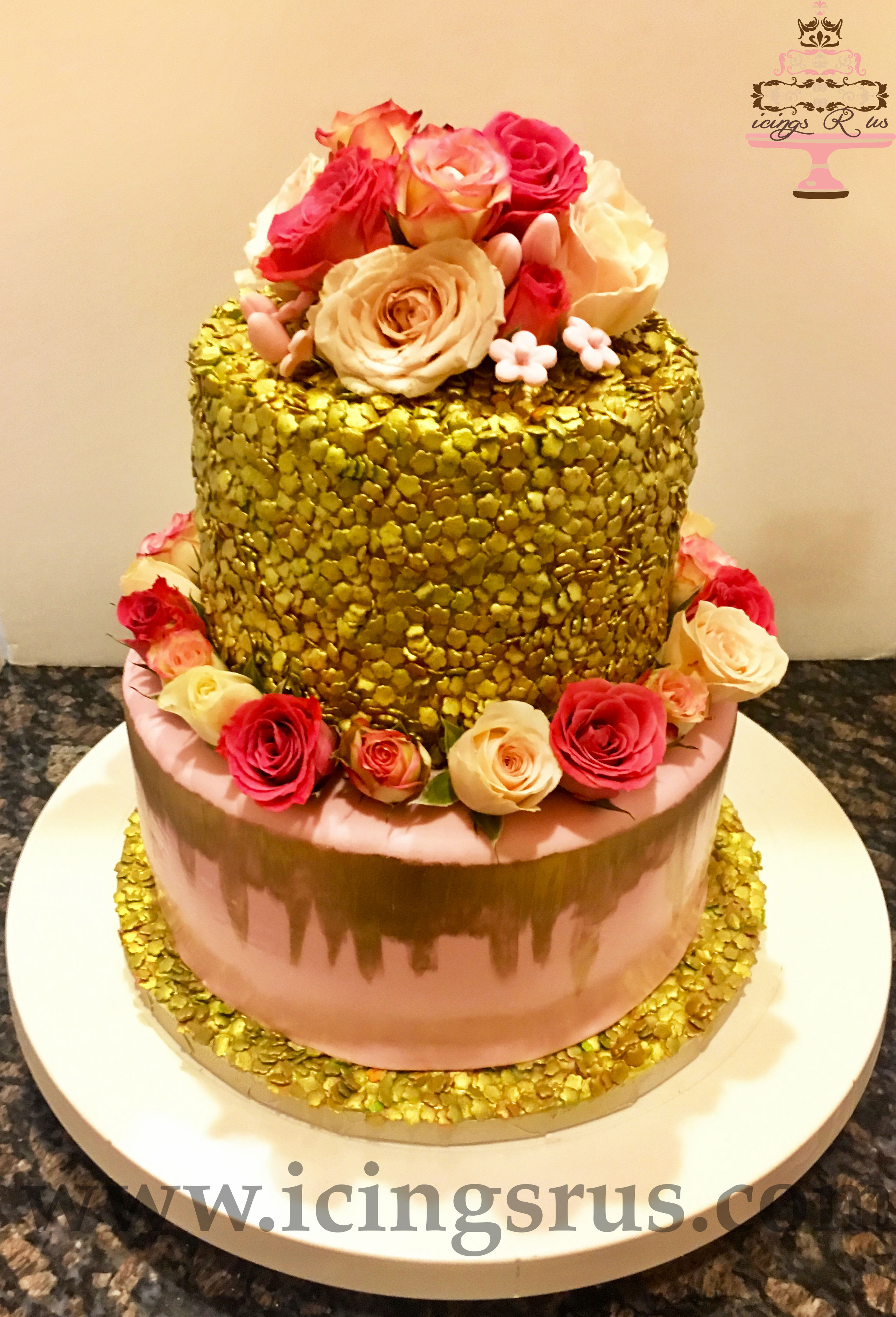 Gold Flake and Drip 2 Tier Bridal Shower Cake