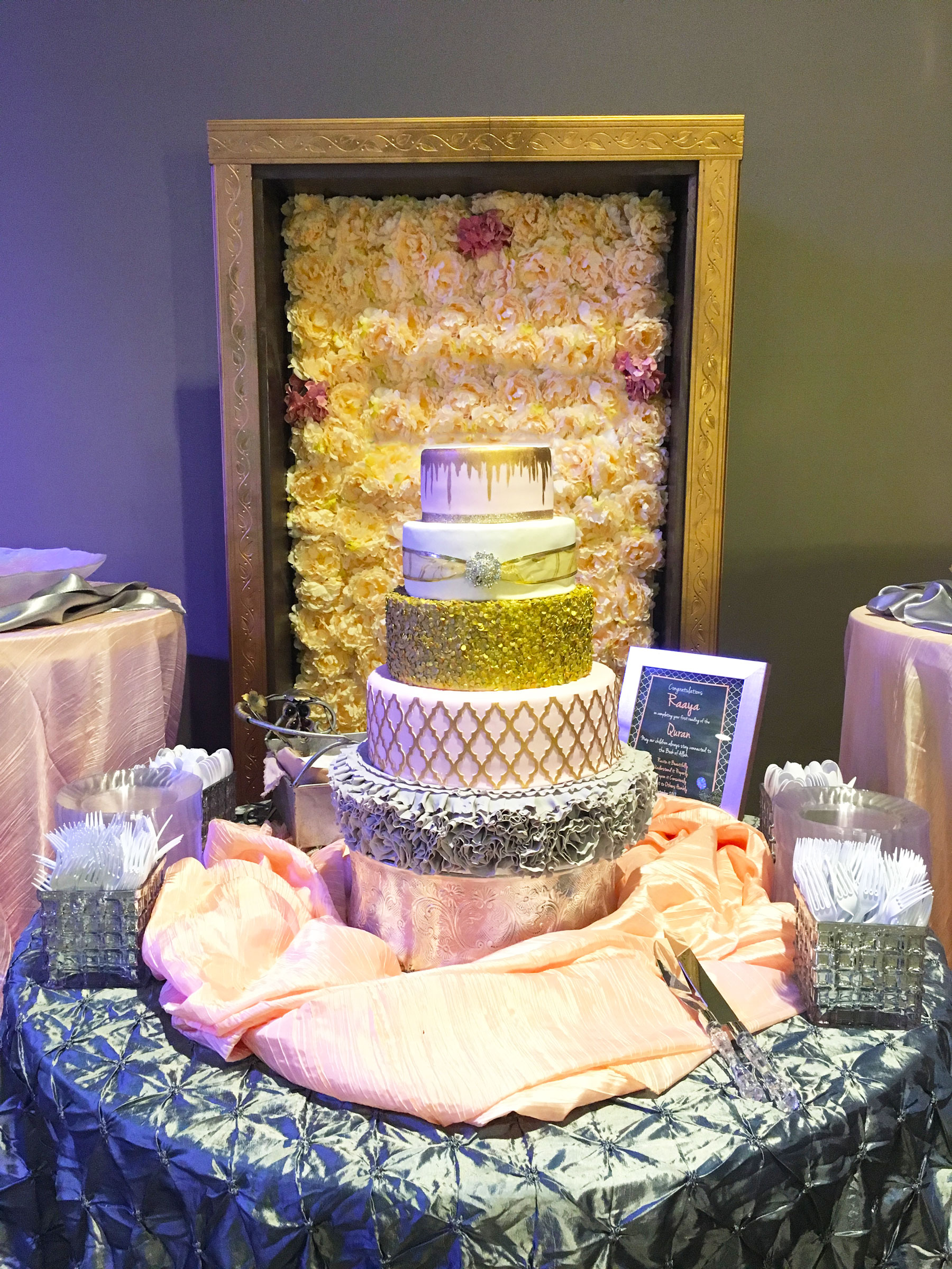 5-tier-golden-frill-and-drip-wedding-cake