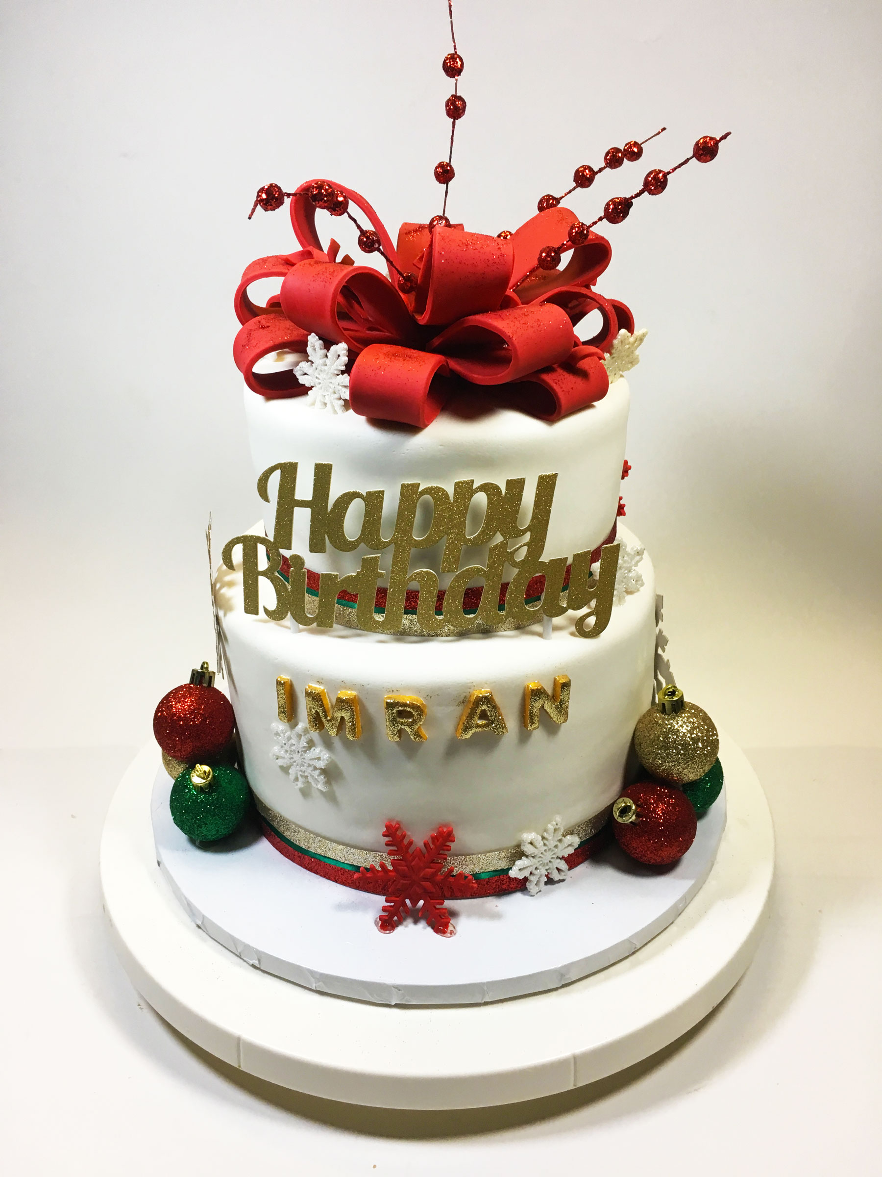Christmas Birthday Bow Cake